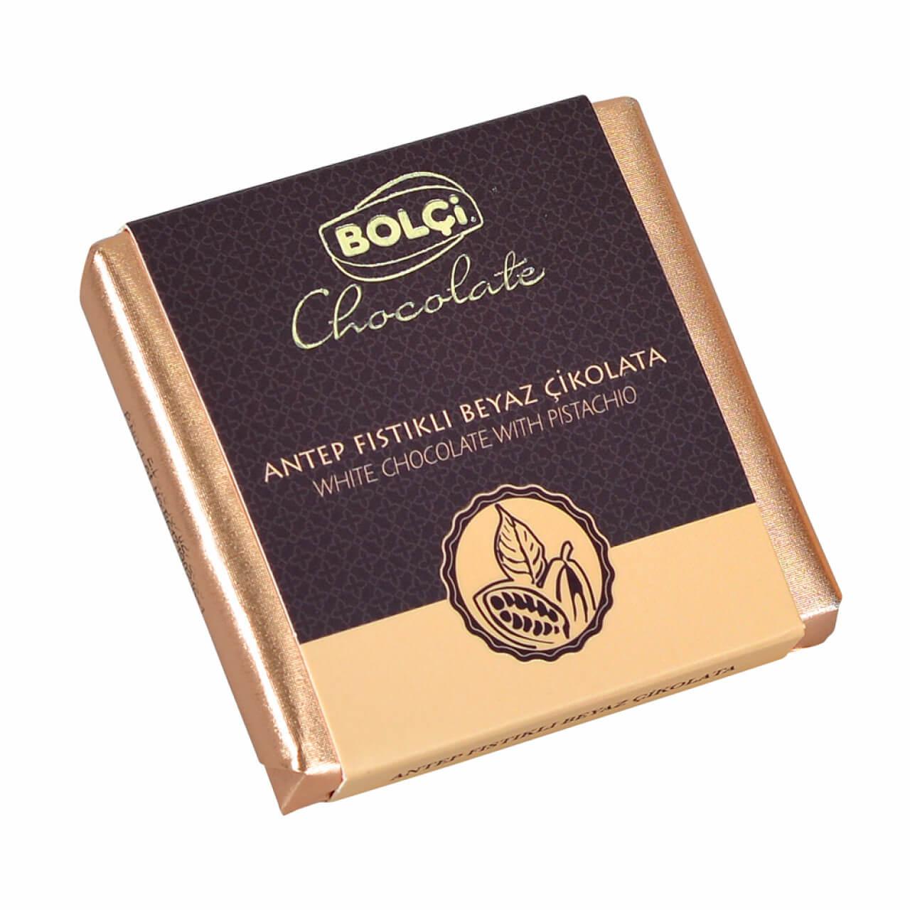 Beyaz Antep Fıstıklı Tablet Çikolata 70 g